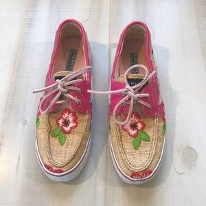 Sperry Boat Shoes Floral Embroidered Patent 7.5M